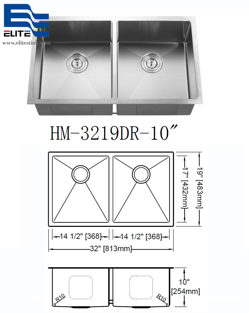 China Stainless Steel Undermount Kitchen Sink Double Bowl 32 x 19
