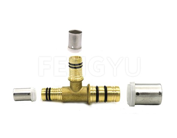 Press brass reducing tee (pex reducing tee)