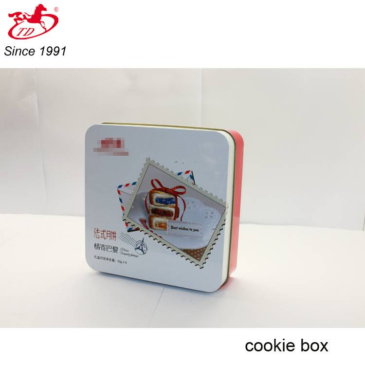 Square wholesale cookie/biscuit tin, promotional cake metal tin can