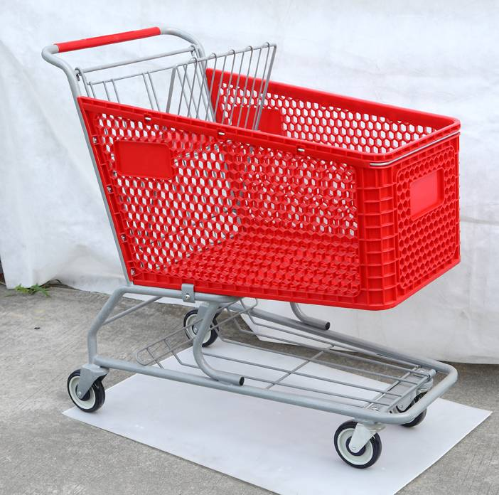 Large Volume Plastic Basket Trolley For Supermarket Shopping