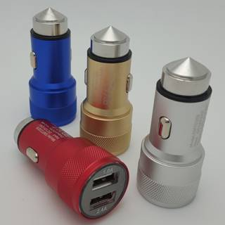 5V 3.4A 2Port USB Car Charger with Safety Hammer