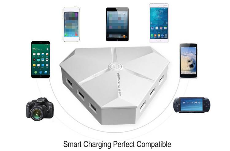 Hot selling 6-port Rapid Charger USB Wall/Desktop/Travel Smart Charging Station with Intelligent Sma