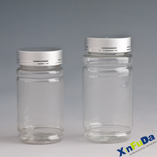 PET Healthcare transparent container with metal cap