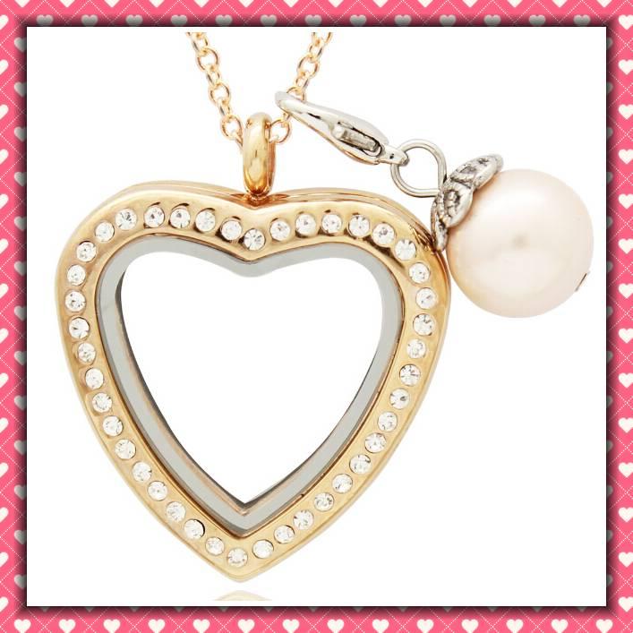 glass floating charm locket