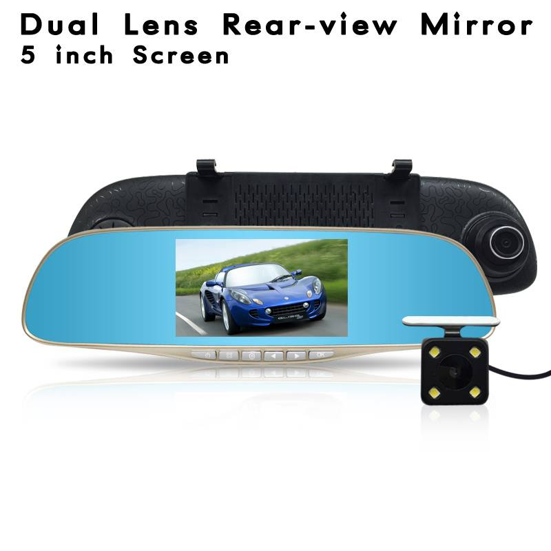 HD Dual Lens Rearview Mirror With 5 Inch Screen