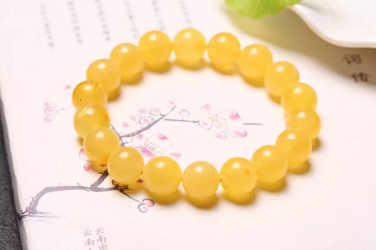NEFFLY Natural Orange 925 Sterling Silver 10mm Indian Asian Style Beaded Strands Bracelets Beeswax G
