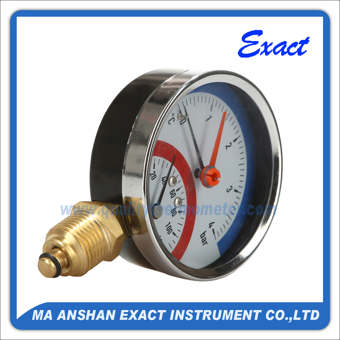 Bottom Connection Thermo-manometer