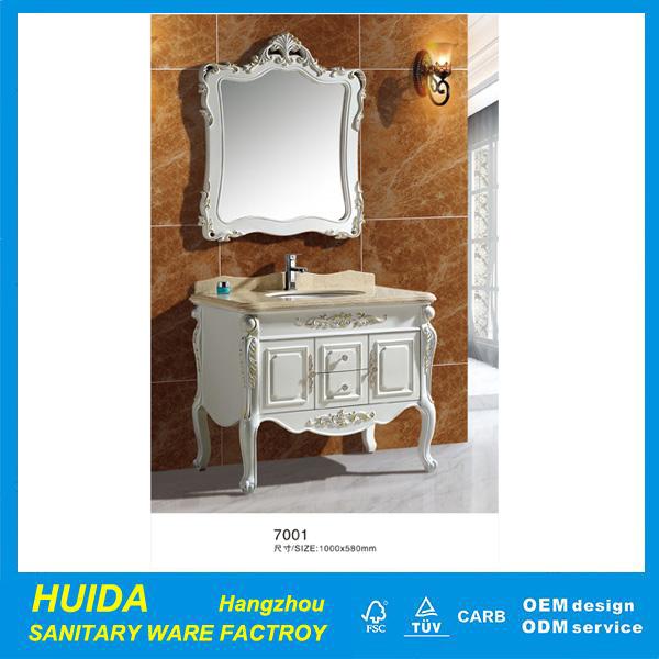 Classic Bathroom Vanity With Lights PVC Bathroom Furniture Antique Vanity Units