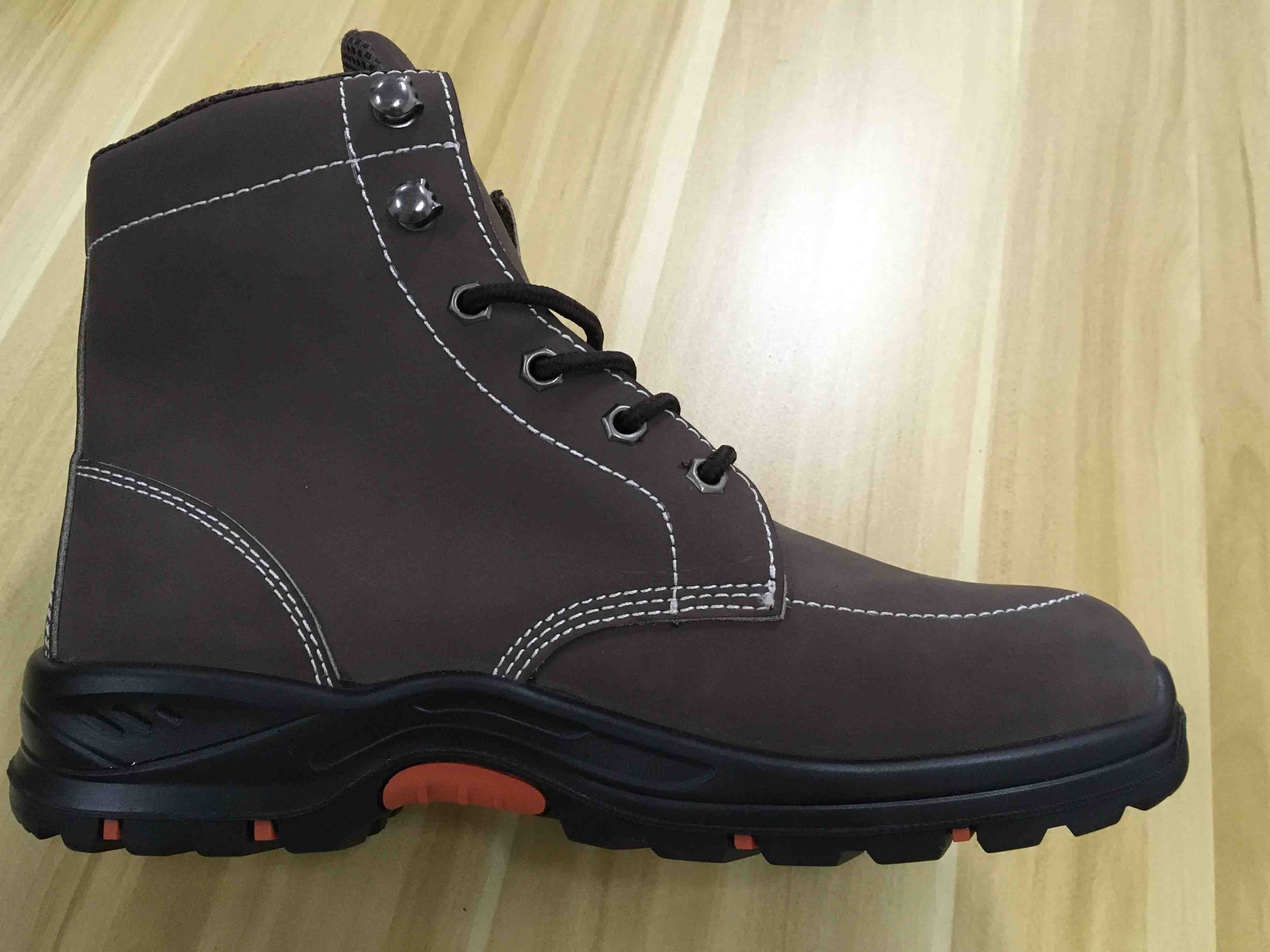 PU and Rubber Sole High Cut Brown Safety Boot