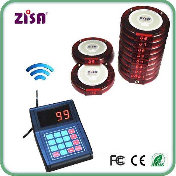Hot Sale ZISA Restaurant Queueing Management Pager , Wireless Guest Paging System