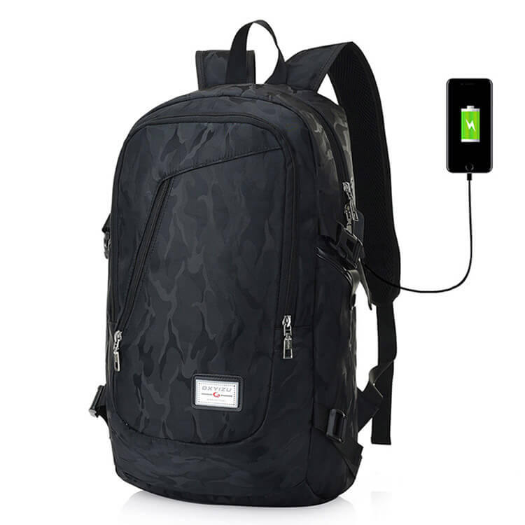 Backpack with USB Charging Port Laptop Backpack Travel Bag Camping Outdoor (Black)