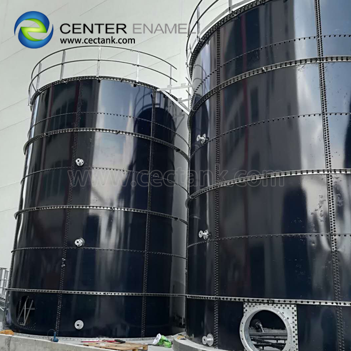 Dark Green Bolted Steel Tanks for Pharmacy Wastewater Treatment Project