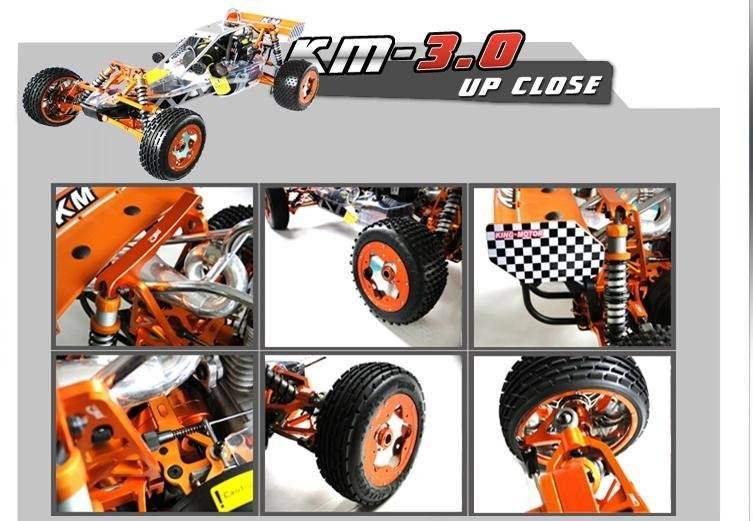 Full Metal Alloy  KM3.0 Baja 5b 30.5cc Buggy with 2.4 GHz  3CH Transmitter