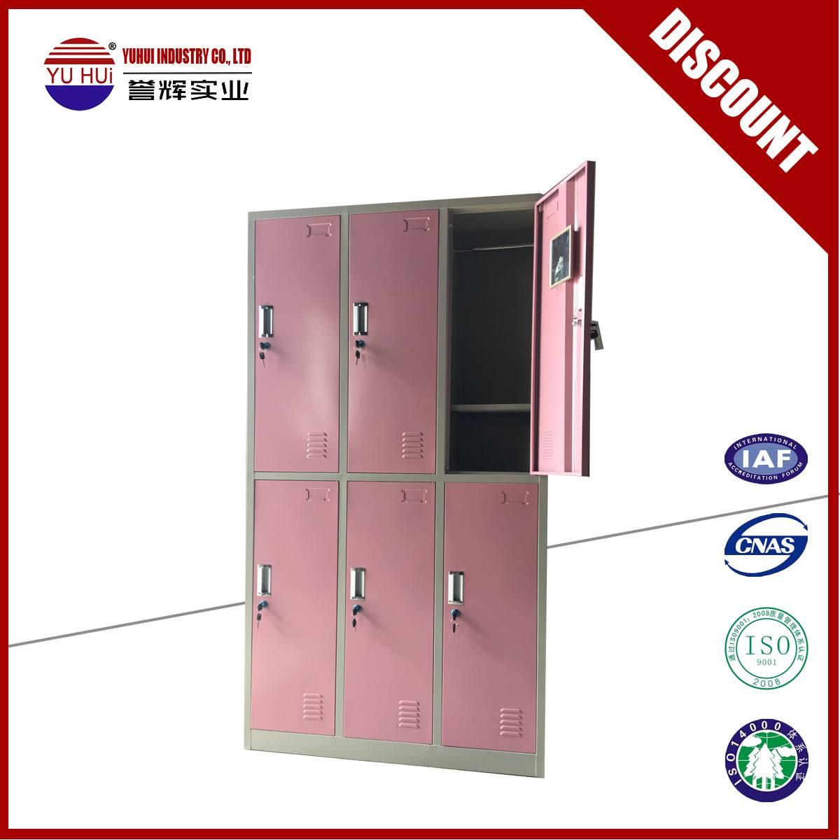 factory produce 6 door metal locker with mirror