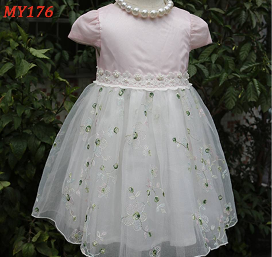 Customized pink children frocks designs princess girl dress for party