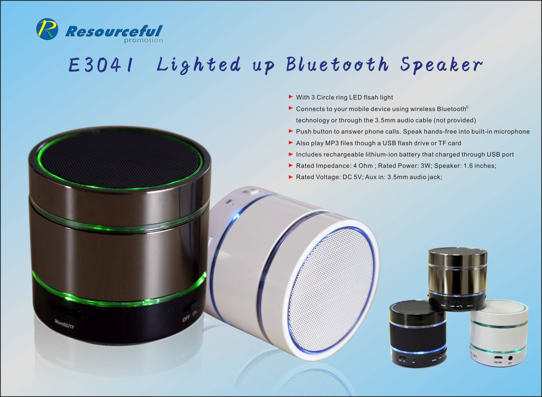 mini fashion aluminum speaker/2014 new speaker with LED light/portable wireless speaker