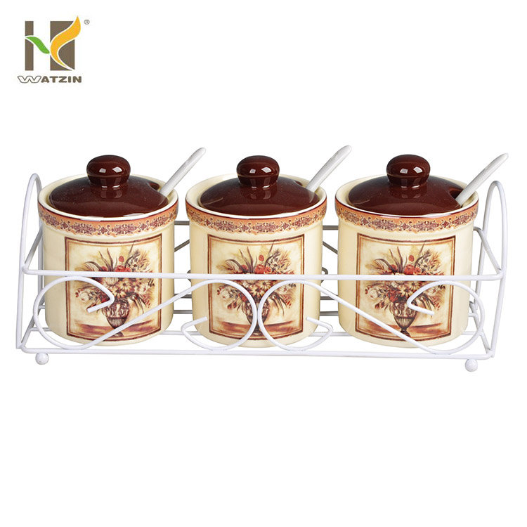 decorative ceramic sugar spice canister set with spoon