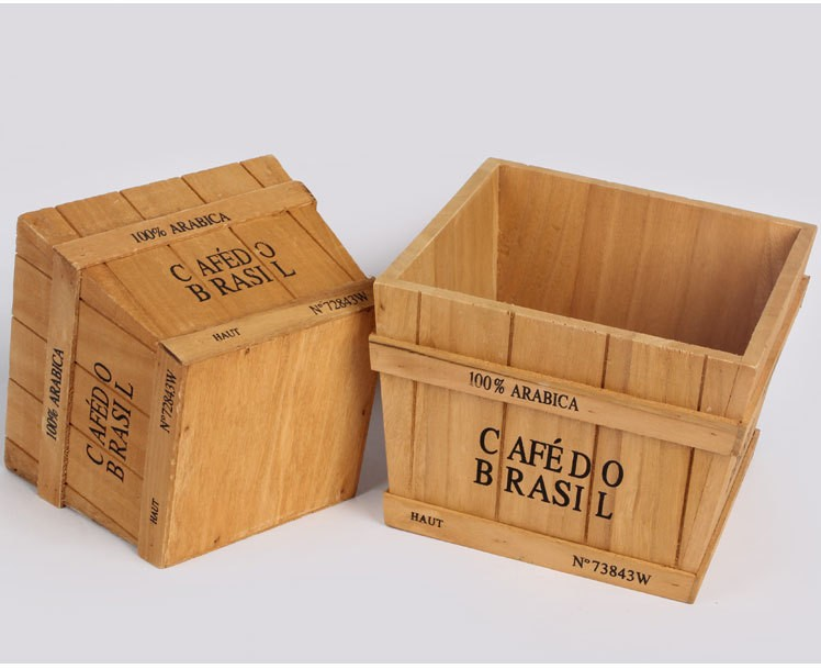 Plant Tray Case Polygon Classical Style Treasure Chests Vintage Retro Wooden Box LOVE