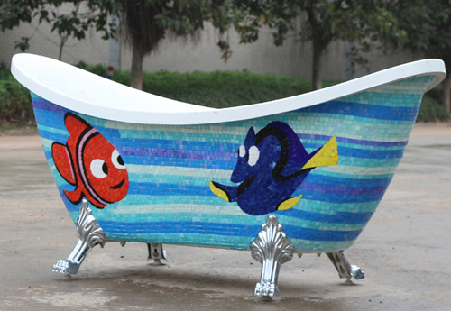 fish mosaic mural on bathtub crafts