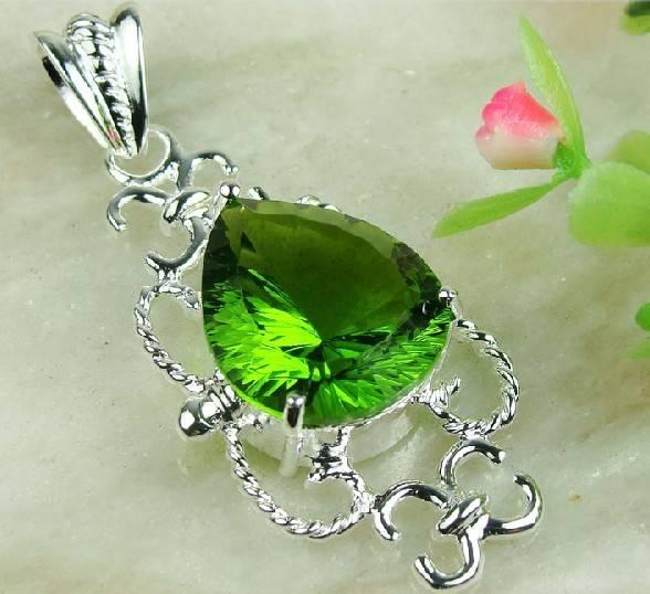 925 Sterling Silver Peridot  Gemstone Pendant