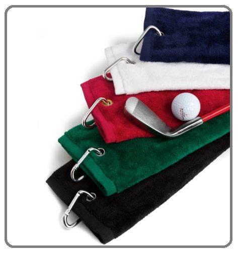 Tri-Fold Golf Bag Towel with Washing Pocket