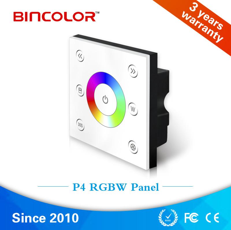 Bincolor P4 Touch panel led controller, 12v 24v 4 channels rgbw led light switch