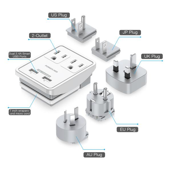 Poweradd UL Listed 2 Outlet International Travel Charger USB Electrical Outlet