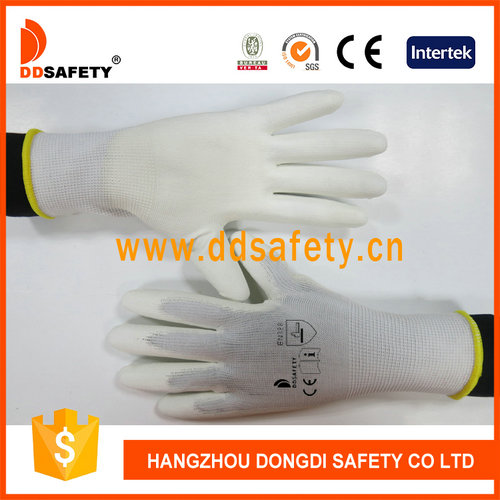 White nylon with white PU gloves-DPU100