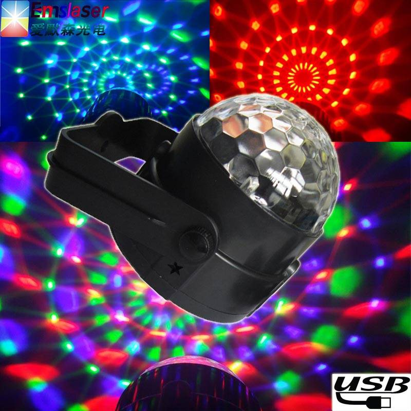 Hot sale car dj light 3w car disco light  mini LED magic ball light sound control 5v