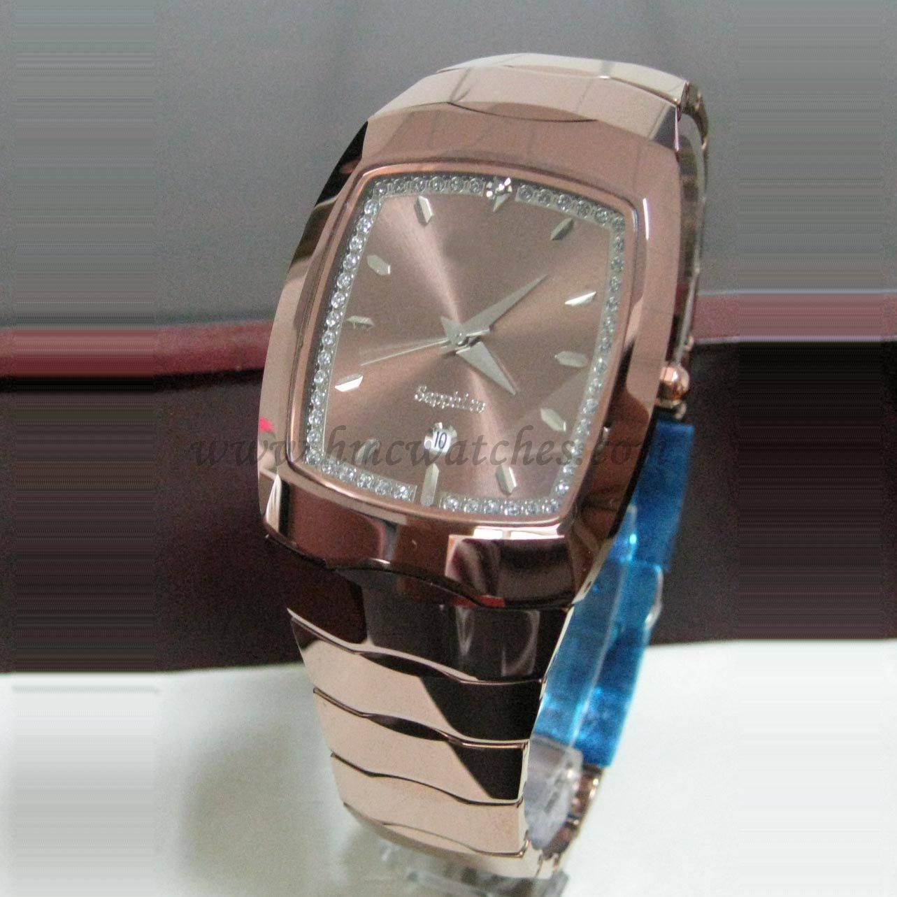 3 ATM waterproof tungsten wrist watches, rose gold plated quartz watches men size
