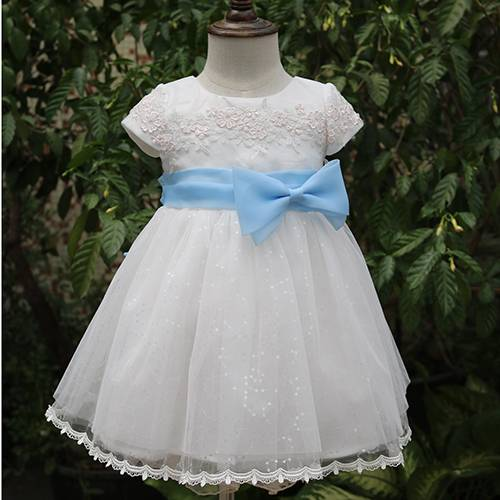 Lovely baby girl frocks photo white mesh wedding flower children dress