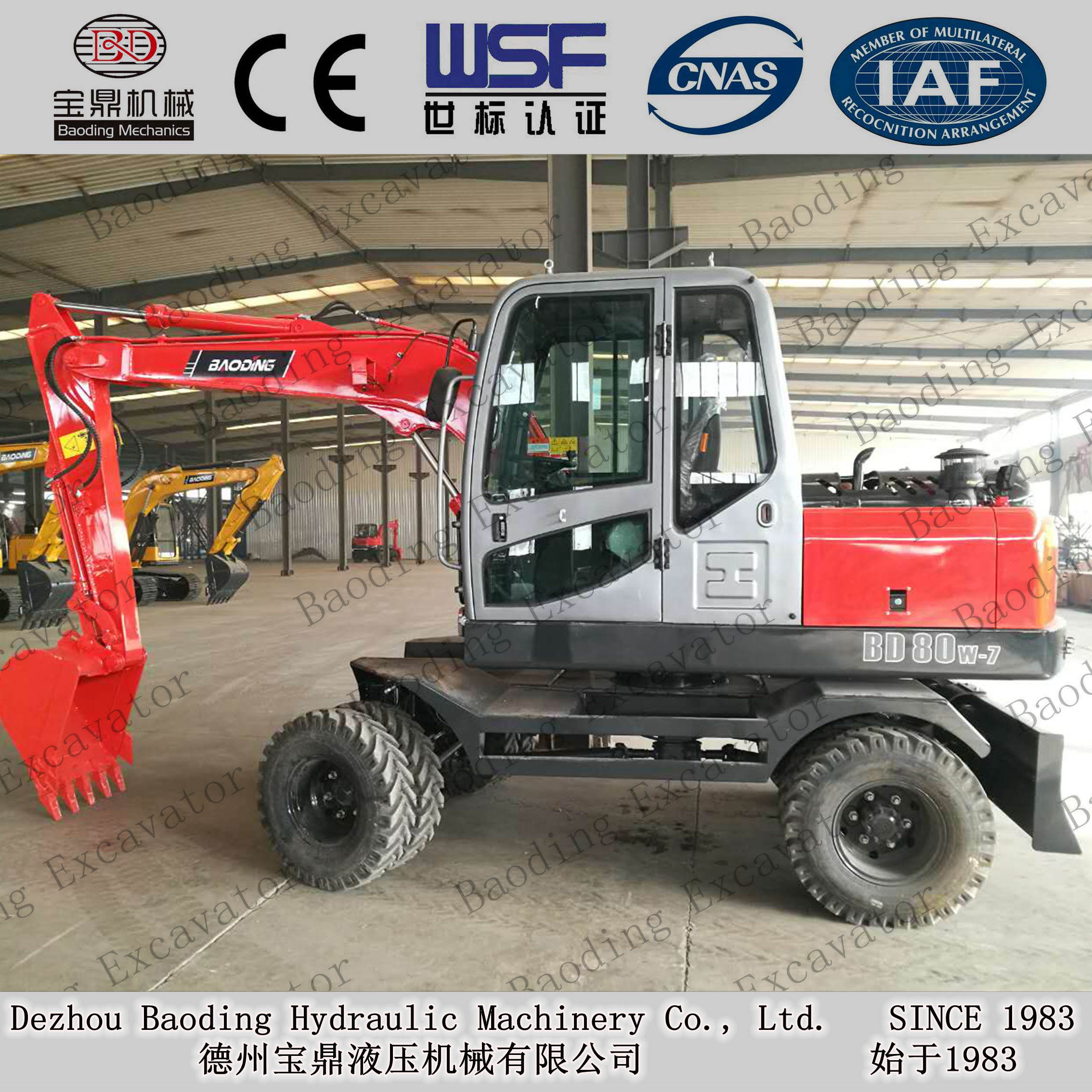BD80 wheel excavator with ISO9001 certificate