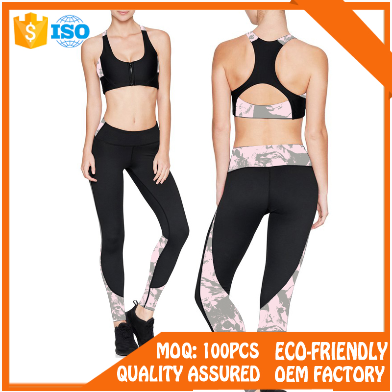 Women Nylon and Spandex Mesh Yoga Pants Workout Leggings