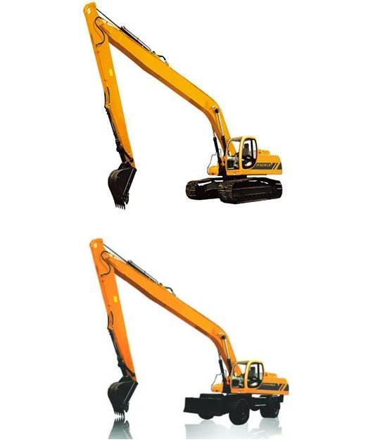 Long boom, crawler excavator & wheel excavator