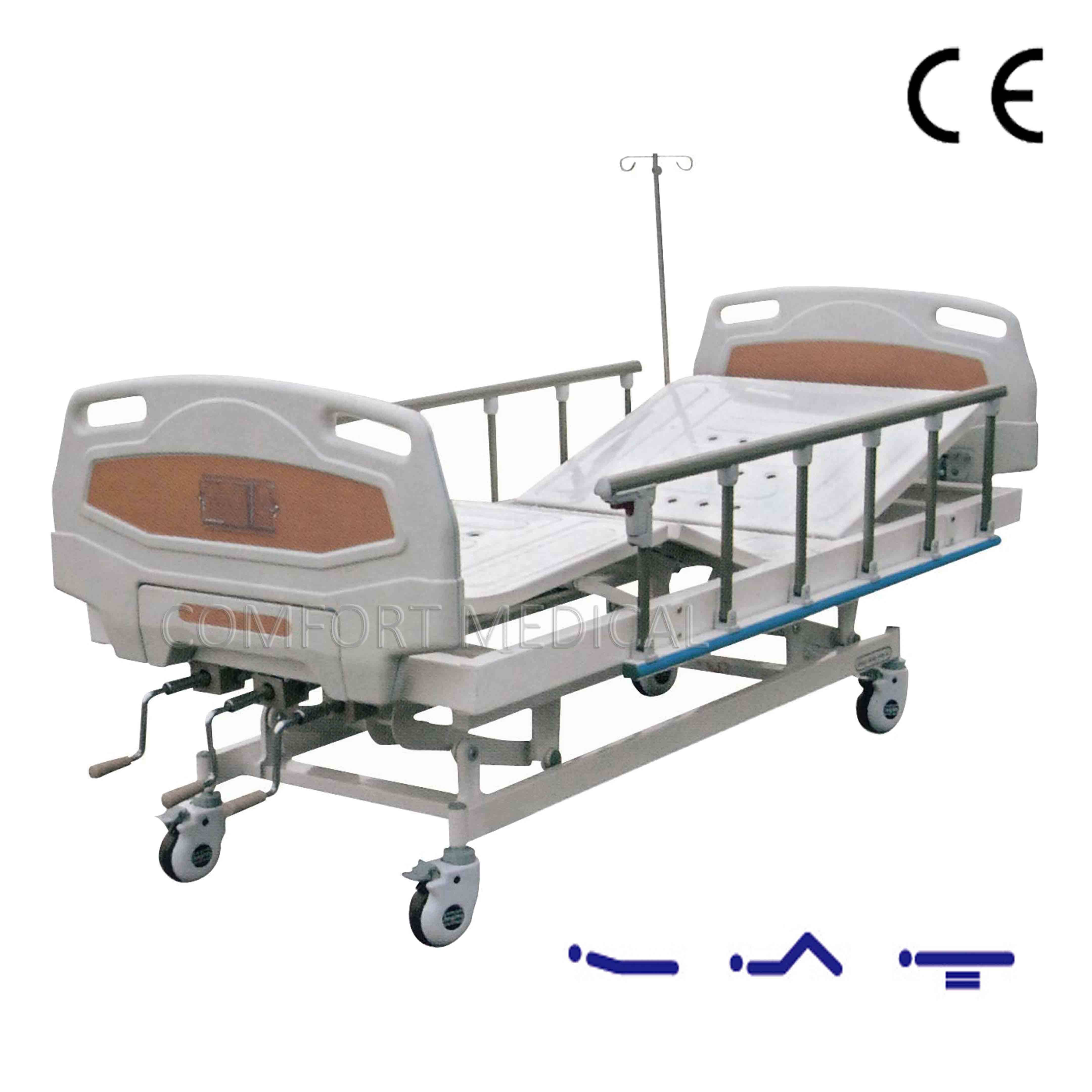 CF-ABS03 Manual 3-rocker medical bed with ABS bed head