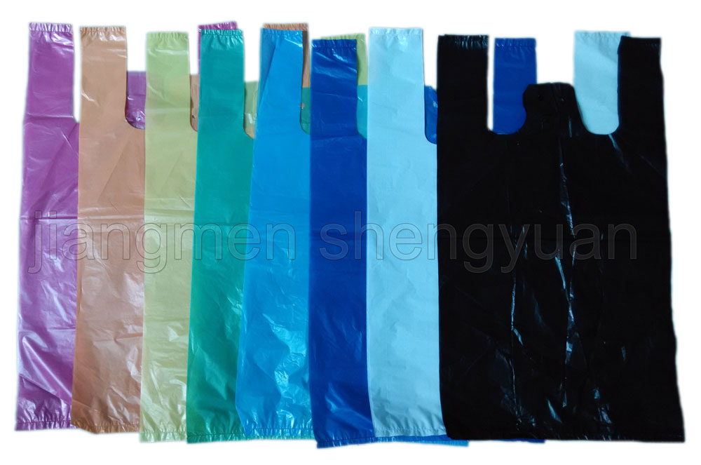 HDPE Plain Plastic Retail Grocery Shopping T-Shirt Handle Bag