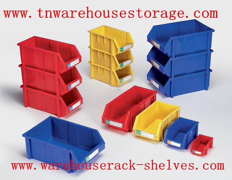 stackable plastic bin/plastic drawer for warehouse parts storage system