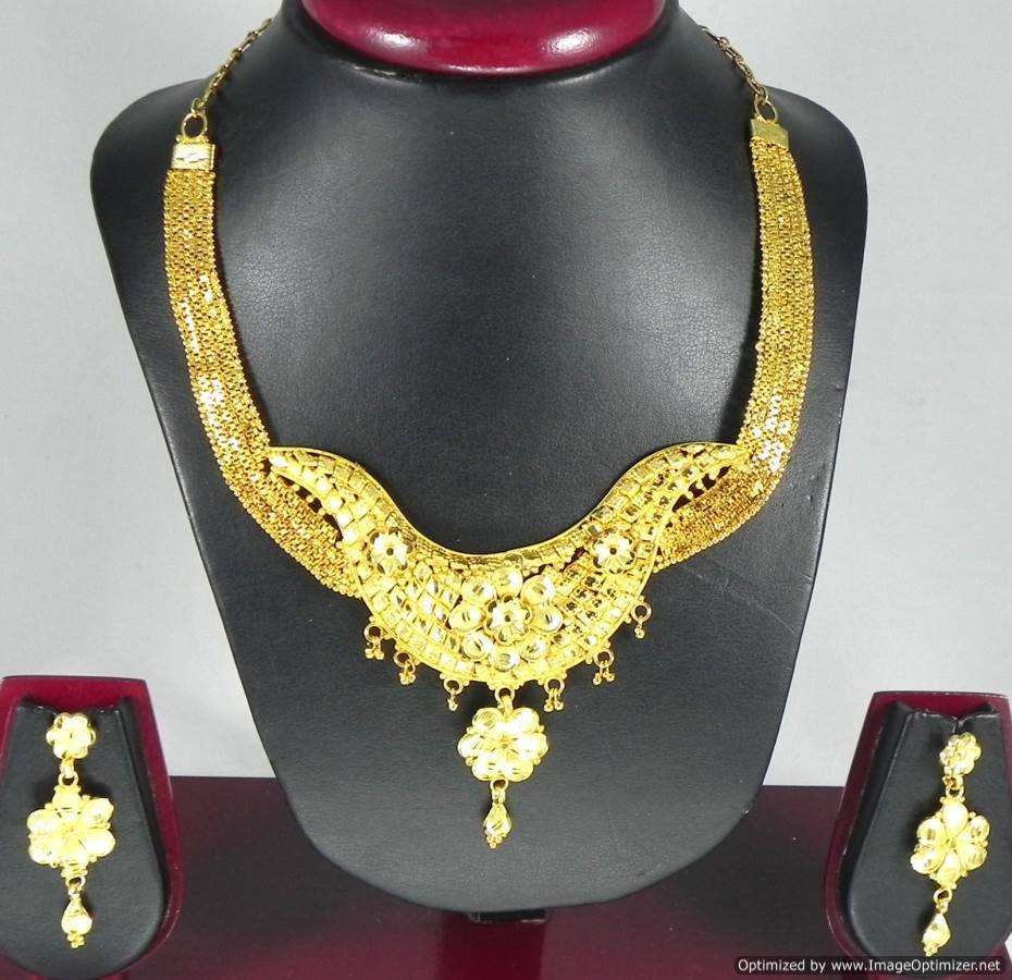 Indian Fashion Jewelry Gold Plated Necklace Earrings set