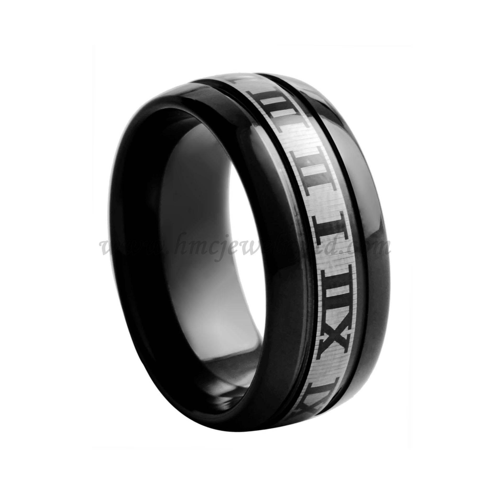 Laser Roman Numerals Mens Tungsten Rings Jewelry, Black Tungsten Carbide Ring