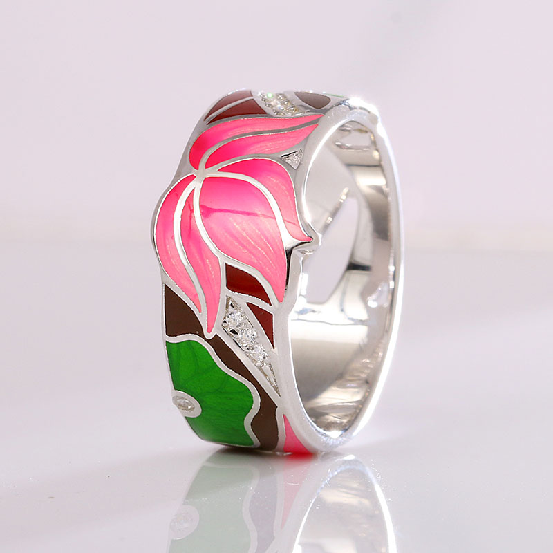 Enamel Jewelry For Women s925 Silver Rings Holiday Gift