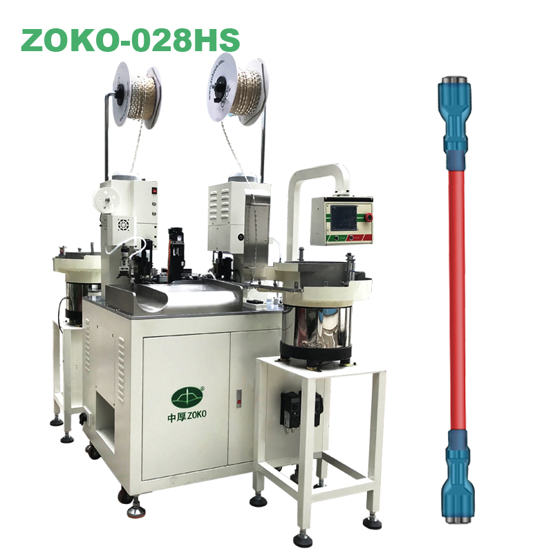 Two-sided insulated sleeve inserting and wire crimping machine