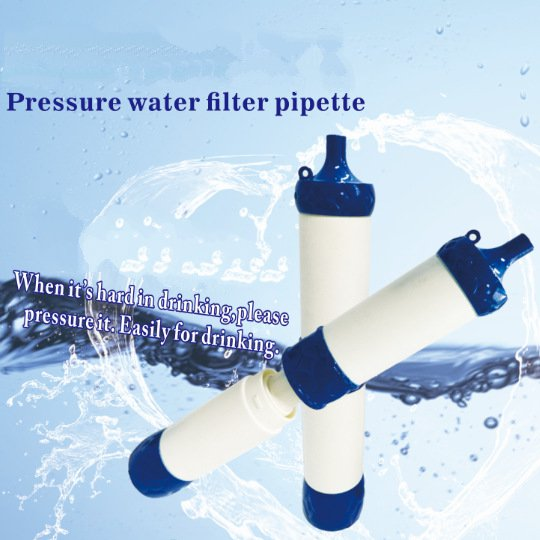 Pressurized water filter pipette straw