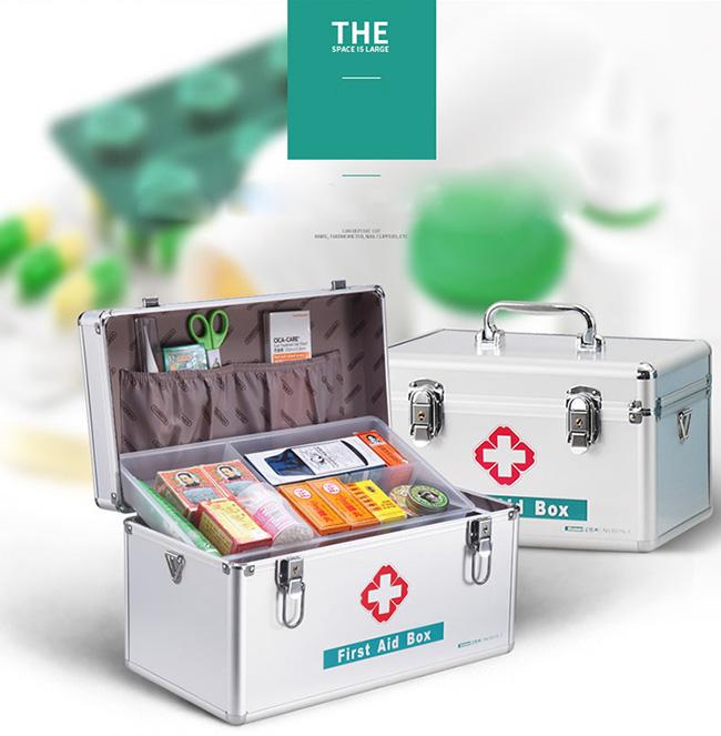 14 Inches Medicine Storage Box Locking First Aid Box with Shoulder Strap B016-2