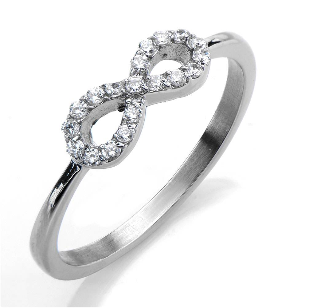 New Coming 316L stainless steel Symbel prong setting cz wedding ring