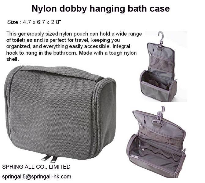 "Nylon dobby hanging bath case, measure 4.7*6.8*2.8"""