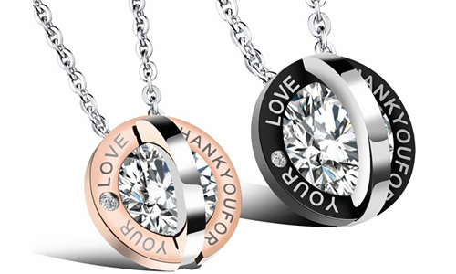 Engraved Stainless Steel Couples Pendant Necklace