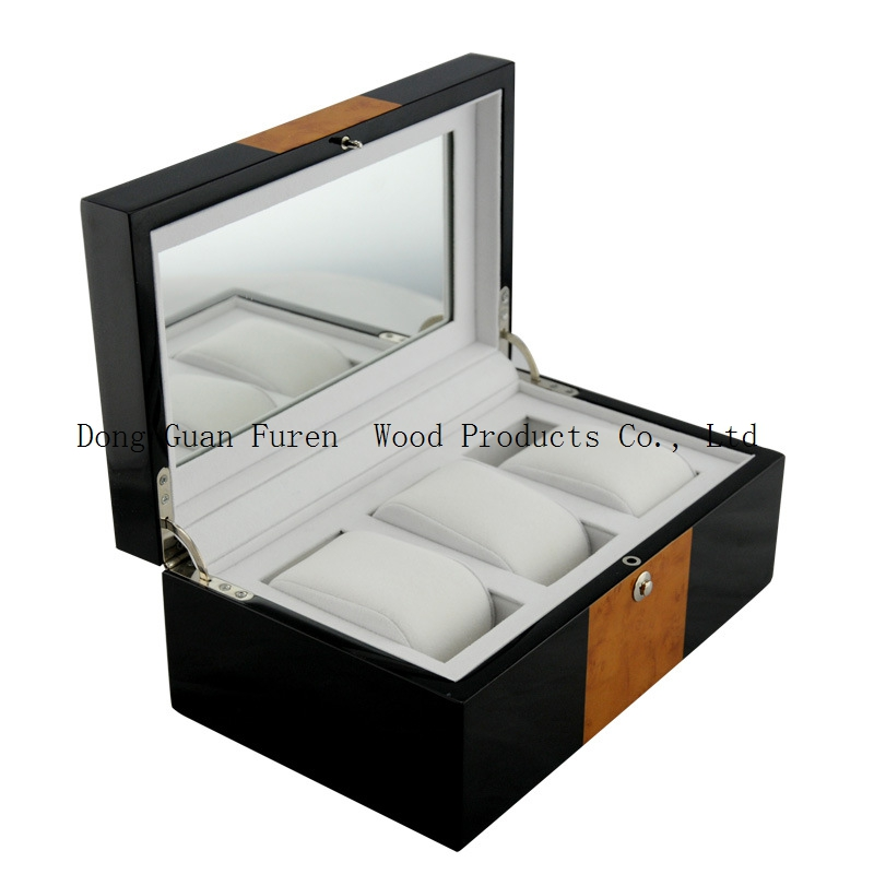 high quality wooden watch box with mirror inner