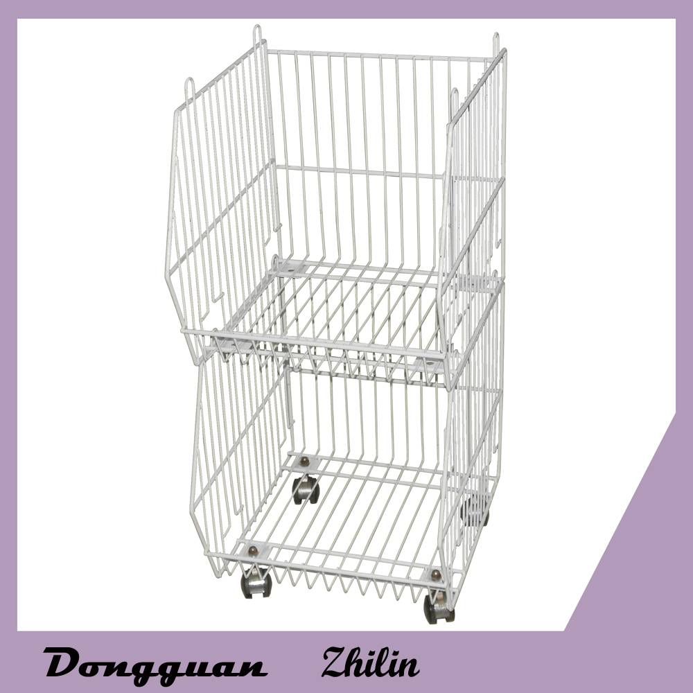 Removable supermarket steel wire storage basket for shopping,metal rolling trolley