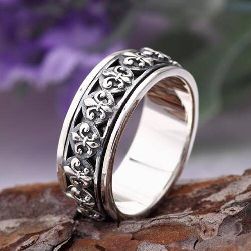 Men's Sterling Silver France Fleur De Lis Spinner Ring