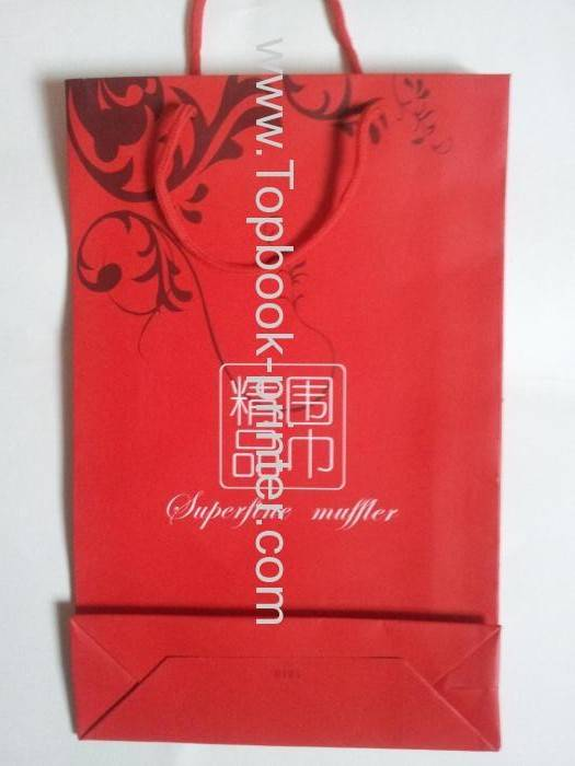 High-end spot UV kraft paper bottom-pasting gift bag for scarf packaging with cotton ropes